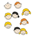 Happy kids and baby isolated on white background vector image vector image