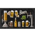 Two hands holding beer glasses mug and tap class vector image vector image