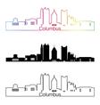 Columbus skyline linear style with rainbow vector image