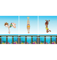 Scenes with people diving in the ocean vector image vector image