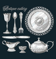 hand drawn antique silver cutlery set vector image