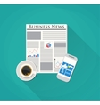 Newspaper mobile phone and coffee vector image