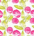 Rough brush pink rose flowers in green vine vector image