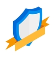 Shield with gold ribbon icon isometric 3d style vector image