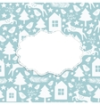 Winter seamless pattern and frame vector image