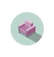 isometric modern pink armchair 3d flat interior vector image