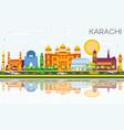 karachi skyline with color landmarks blue sky and vector image