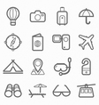 travel symbol line icon set vector image vector image