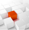 Abstract 3D cubic background with red cube vector image vector image