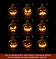 Dark Jack O Lantern Cartoon 9 Scary Expressions vector image