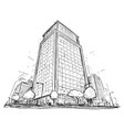 drawing of city street high rise building vector image