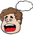 fat boy screaming with thought bubble vector image