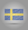 flag of sweden scratched texture vector image