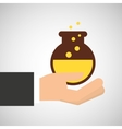 hand holding research science container vector image