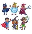 Happy halloween Set of cartoon cute children in vector image