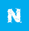 letter n cloud font symbol white alphabet sign on vector image