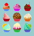 set of nine sweets vector image