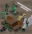 counterterrorist operation isometric composition vector image