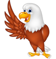 Cartoon eagle waving isolated on white background vector image