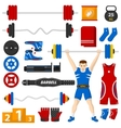 A man with a barbell over his head vector image