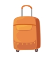 Brown Suitcase On Wheels With Telescopic Handle vector image