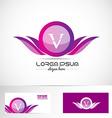 Letter V pink purple wings logo vector image
