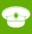 white nautical hat icon green vector image
