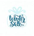 winter sale unique banner inscription in gift box vector image