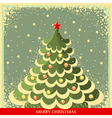 Vintage Christmas background with tree vector image vector image