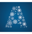 Letter A font frosty snowflakes vector image