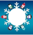 six penguins with snowflake vector image vector image