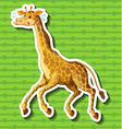 Giraffe running away on green background vector image vector image