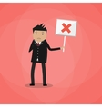 Cartoon Businessman hold sign with cross vector image