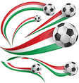 italian and mexican flag with soccer ball vector image