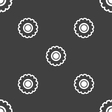 cogwheel icon sign Seamless pattern on a gray vector image