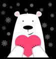 funny cute polar bear with heart vector image