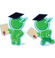 green hero with diploma vector image