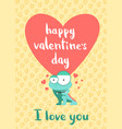 happy valentines day card with hearts cute vector image