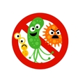 Stop bacterium sign with cute 3 cartoon gems vector image
