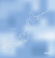 The map of Japan on an indistinct blue background vector image