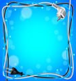 Frame from cables on blue background vector image