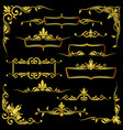 Golden ornate frames borders and corner vector image