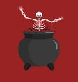 Sinner in boiler skeleton in pot cook for sinners vector image
