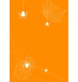 Spider webs on orange background vector image vector image
