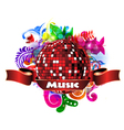 discoball with colorful floral vector image vector image