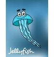 Cartooned blue jellyfish with flowing long vector image