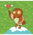 Cute cartoon owl with heart vector image