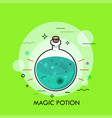 green liquid in round bottom flask vector image