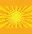 yellow orange sun pop art retro rays background vector image