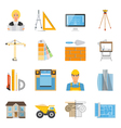 Architect Flat Colored Icons Collection vector image